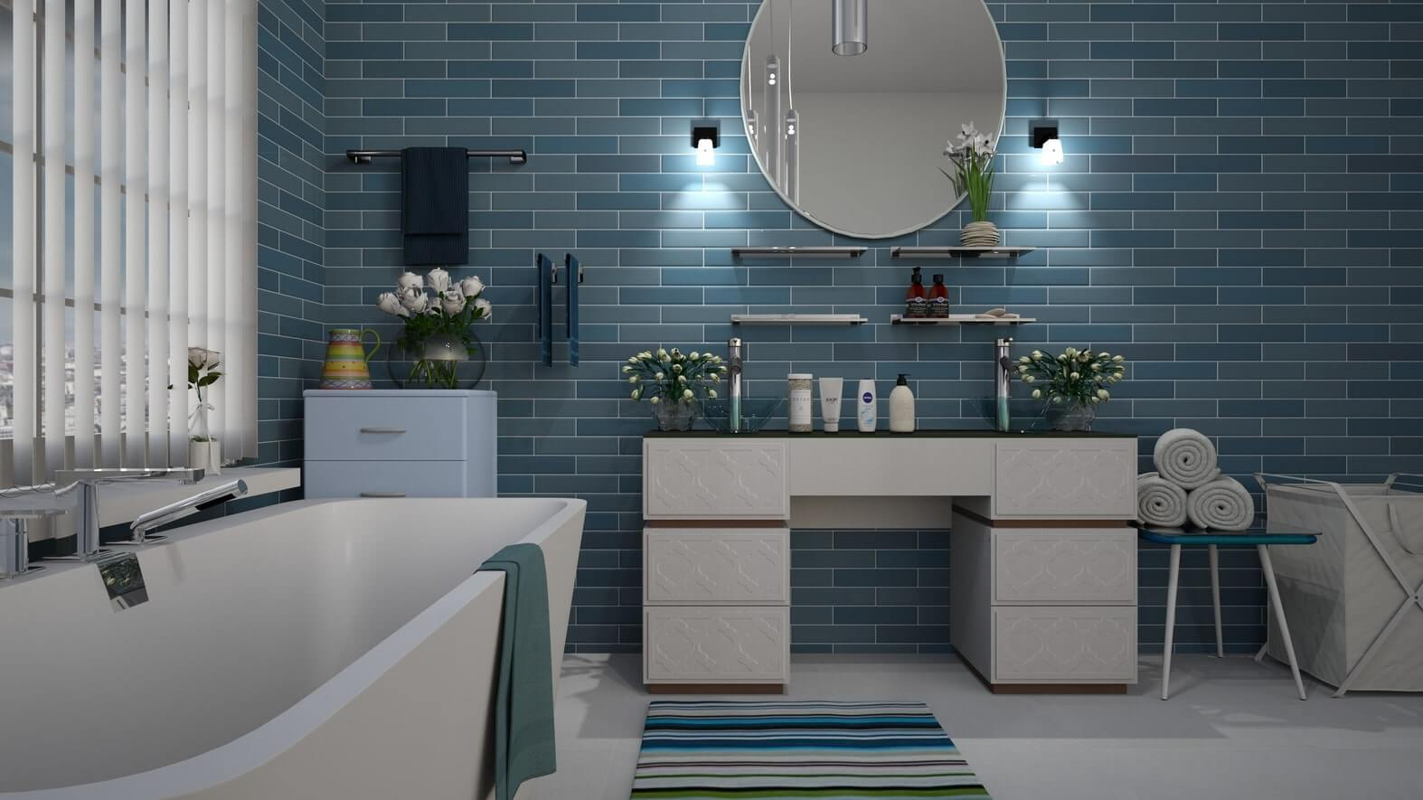 blue tile new bathtub by remodeling contractor
